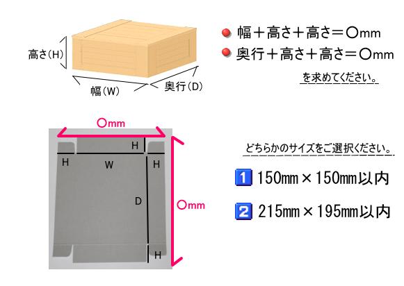 箱にする紙のサイズを計算してください